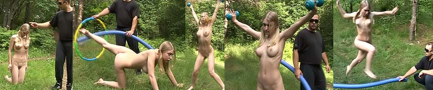 Male special exercises trainer dominates the nude blonde girl