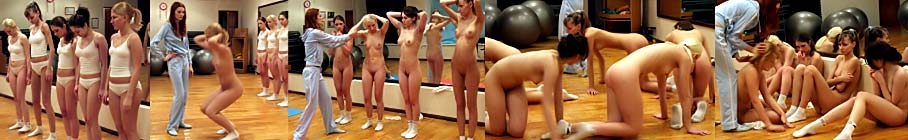 Group special exercises workout in the gym with the cruel female trainer